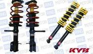Комплект передней и задней масляной подвески в сборе «kyb premium» (Каяба) для Лада Калина, Калина 2, Гранта, занижение от -25 мм до -50мм