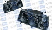 Фары prosport rs-03385 для ВАЗ 2108-099 «mercedes-benz» с «ангельскими глазками», черные