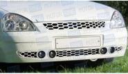 Нижняя решетка в передний бампер Соты под два комплекта ПТФ неокрашенная для Лада Приора