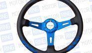 Спортивный руль rtech 76 Пламя обод из экокожи с цветными спицами на ВАЗ 2108-21099, 2110-2112, 2113-2115