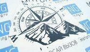 Наклейка компас, горы, роза ветров от Рено Дастер