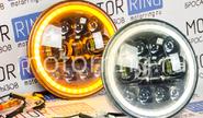 Светодиодные фары 90w черные с кольцом повторителя поворотника и ДХО на ВАЗ 2101, 2102, Лада Нива 4х4, УАЗ