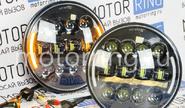 Светодиодные фары черные 90w с повторителем поворотника и ДХО на ВАЗ 2101, 2102, Лада Нива 4х4, УАЗ