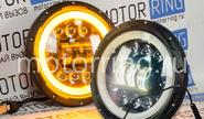 Светодиодные фары в черном корпусе 90w, 7 дюймов с кольцом повторителя поворота и ДХО на ВАЗ 2101, 2102, Лада Нива 4х4, УАЗ, jeep wrangler