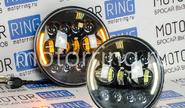 Светодиодные фары 90w черные с повторителем поворотника и ДХО на ВАЗ 2101, 2102, Лада Нива 4х4, УАЗ