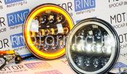 Светодиодные фары 90w, 7 дюймов черные с led кольцом повторителя поворота и ДХО на ВАЗ 2101, 2102, Лада Нива 4х4, УАЗ, jeep wrangler
