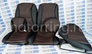 Халявing! Обивка сидений (не чехлы) экокожа коричневая перфорация на ВАЗ 2108-21099, 2113-2115,  Нива 2131 5 дверная (длинная)