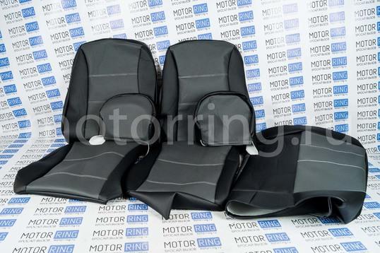ХалявING! Обивка сидений (не чехлы) экокожа серая перфорация на ВАЗ 2108-21099, 2113-2115,  Нива 2131 5 дверная (длинная)_1