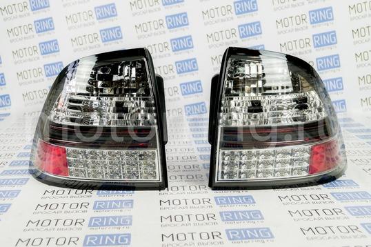 Светодиодные черные задние фонари (Китай) на Лада Приора_1