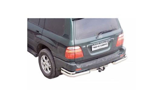 Защита заднего бампера Уголки двойные d76 нержавейка на Toyota Land Cruiser 100_1