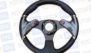Спортивный руль для автомобилей ВАЗ черный с вставками под карбон R1 (4100А)